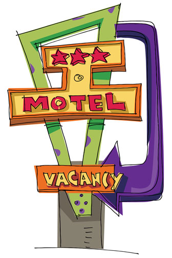 motel sign with lighted vacancy indicator